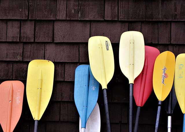 palas usadas para hacer rafting