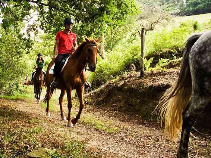 Persona haciendo ruta a caballo